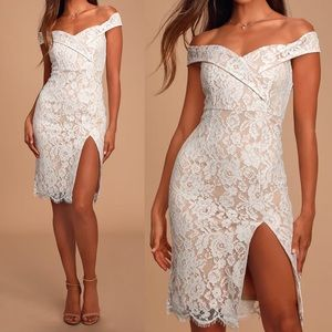 Table for Two White Lace Off-Shoulder Midi Dress